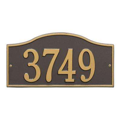 Rolling Hills Rectangular Bronze/Gold Standard Wall One Line Address Plaque