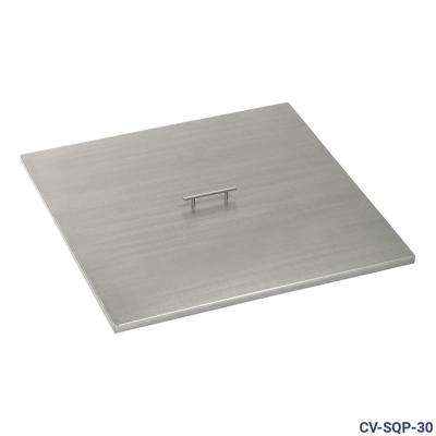 30 in. Stainless Steel Cover Square Drop-In Fire Pit Pan