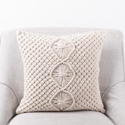 18 in. L x 18 in. W Diamond Handmade Cotton Rope Pillow Cover