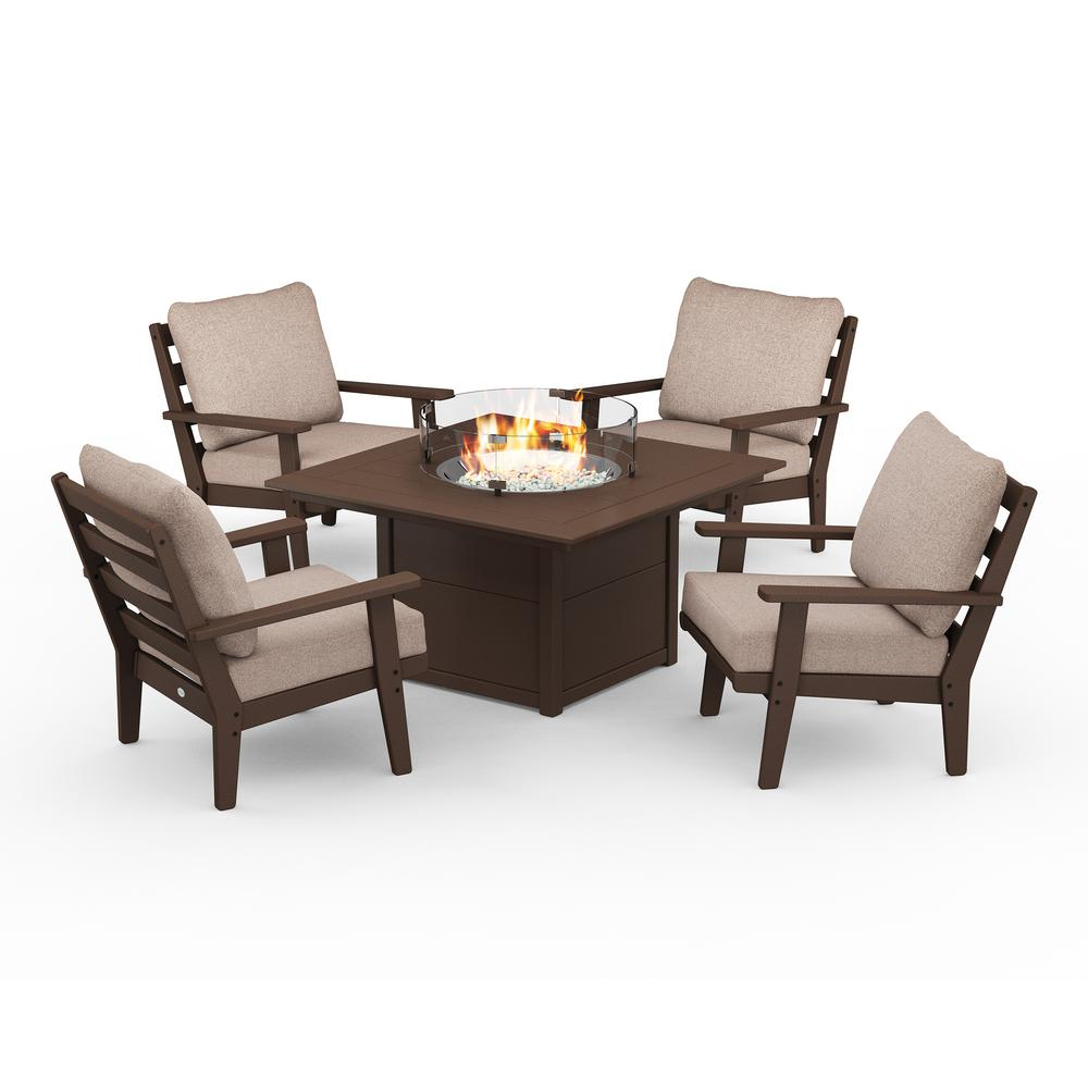 POLYWOOD Grant Park Mahogany 5-Piece Plastic Patio Conversation Deep Seating Set with Fire Pit Table and Wheat Cushions