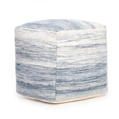 Bar Harbor 20 in. x 20 in. x 20 in. Blue and Ivory Pouf