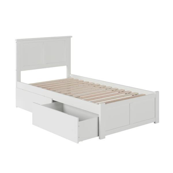 Madison White Twin XL Platform Bed with Flat Panel Foot Board and 2 Urban Bed Drawers