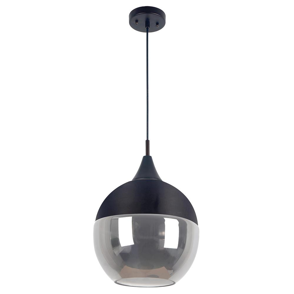 BELDI Popoli Collection 1-Light Black Pendant and Smoked Glass