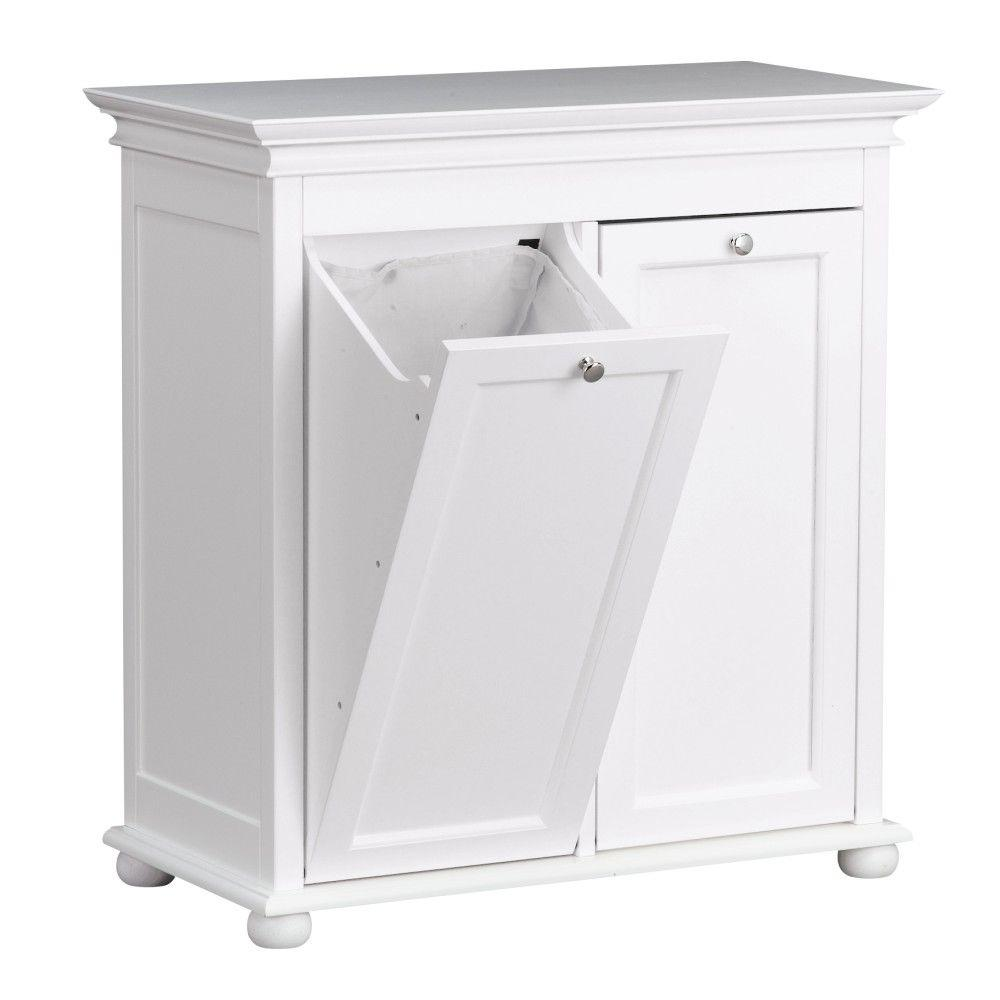 hampton harbor 26 in. double tilt-out hamper in white-2601310410 Laundry Basket Cabinet