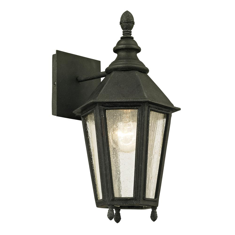 Troy Lighting Savannah 1-Light Vintage Iron 14.75 in. H Outdoor Wall Lantern Sconce with Clear Seeded Glass
