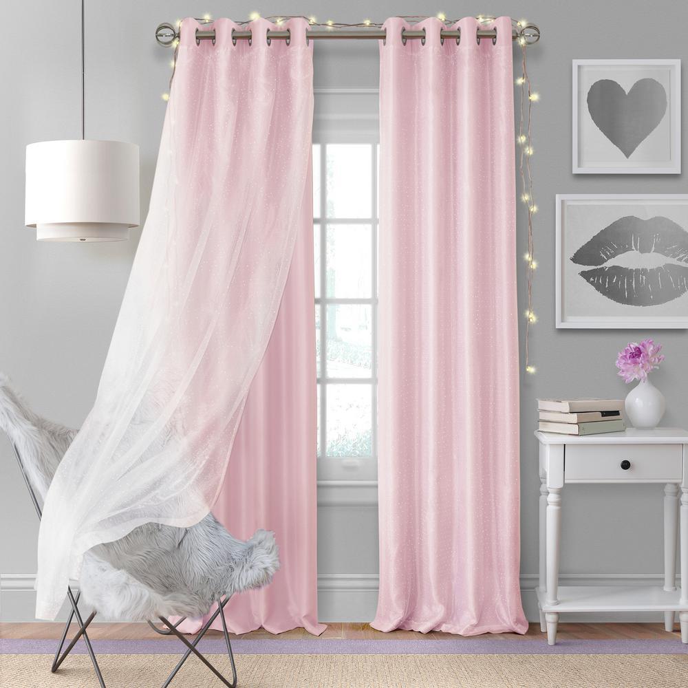Elrene Home Fashions Aurora Kids Room Darkening Layered Sheer Window Curtain