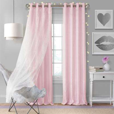 Elrene Aurora Single Window Curtain Panel with Sheer Overlay in Soft Pink - 52 in. W x 95 in. L