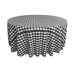 120 in. White and Black Polyester Gingham Checkered Round Tablecloth