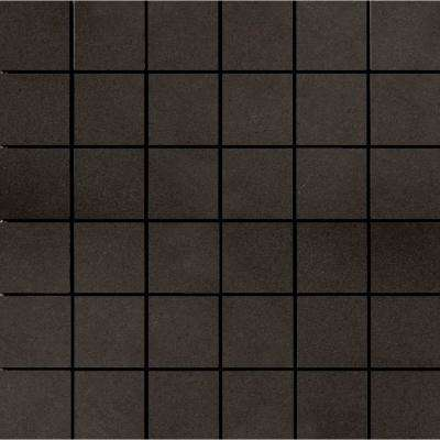Perspective Pure Charcoal 11.81 in. x 11.81 in. x 10mm Porcelain Mesh-Mounted Mosaic Tile