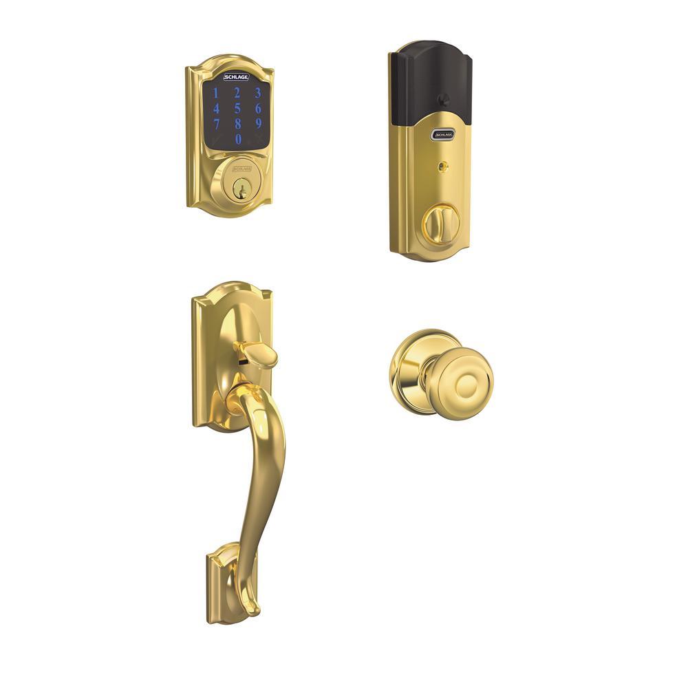 Camelot Bright Brass Connect Smart Lock with Alarm and Georgian Door Knob Handleset