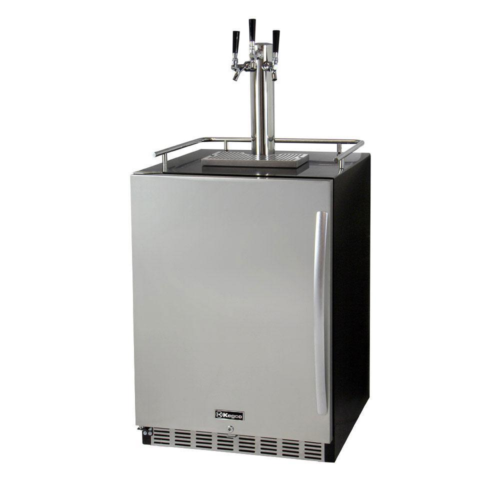 Digital Undercounter Full Size Beer Keg Dispenser with X-CLUSIVE Triple Tap Premium Direct Draw Kit Left Hinge