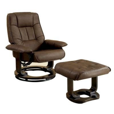 Modish Brown Multi functional Swivel Lounger Chair with Ottoman