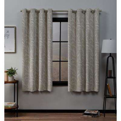 Kilberry 52 in. W x 63 in. L Woven Blackout Grommet Top Curtain Panel in Linen (2 Panels)
