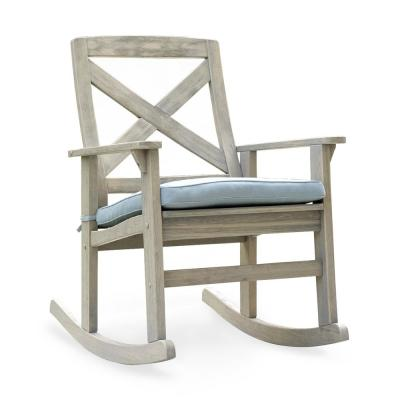 Tulle Wood Outdoor Rocking Chair with Blue Spruce Cushion