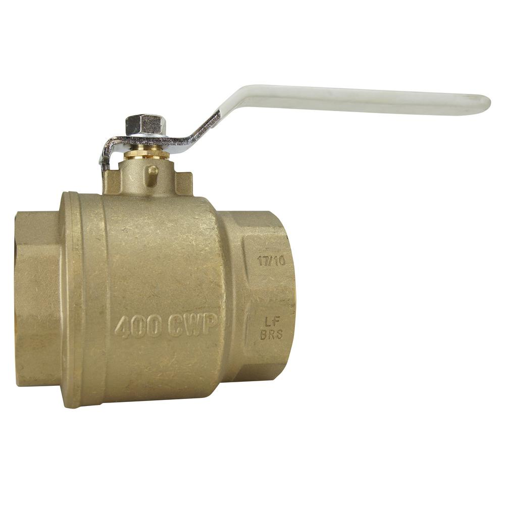 2-1/2 in Lead Free Brass FNPT x FNPT Full-Port Ball Valve