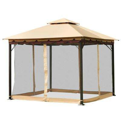 2-Tier 10 ft. x 10 ft. Beige Top Brown Eaves Black Mesh Gazebo Canopy Tent Shelter Awning Steel Outdoor Garden Patio