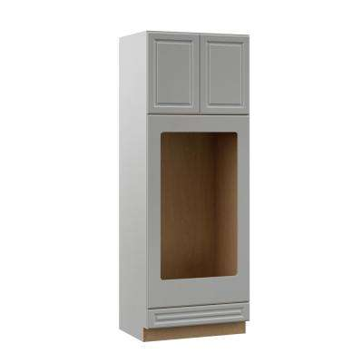 Elgin Assembled 33x90x23.75 in. Double Oven Kitchen Cabinet in Heron Gray