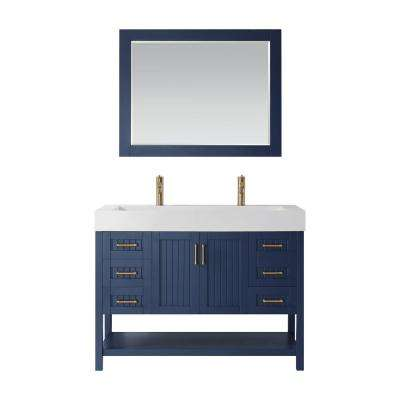Pavia 48 in. Vanity in Blue with Acrylic Vanity Top in White with White Basin and Mirror