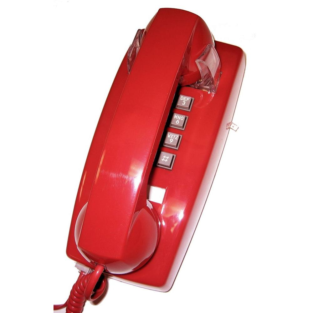 Corded Telephone with Volume Control - Red