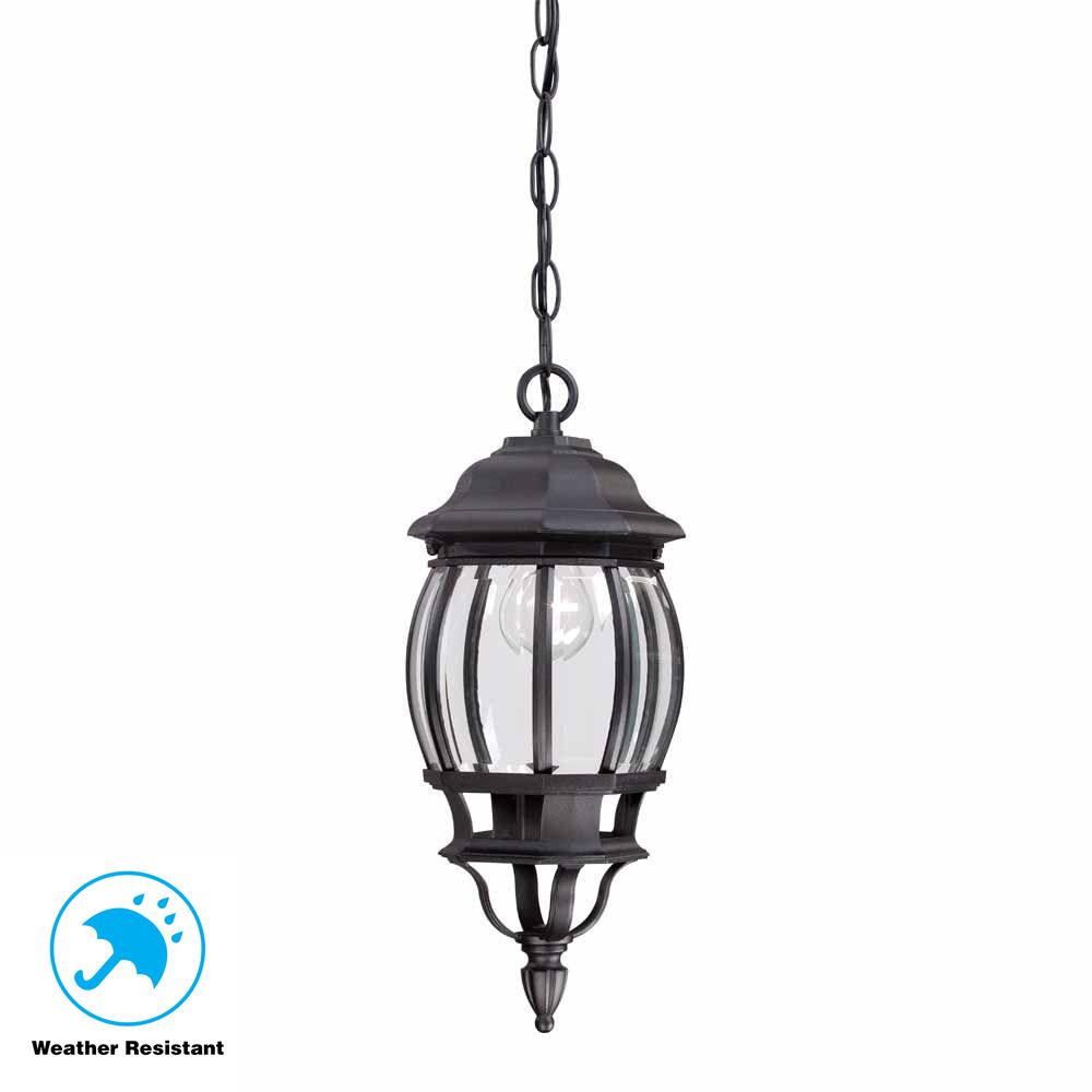 Hampton Bay 1-Light Black Outdoor Hanging Lantern-HB7030