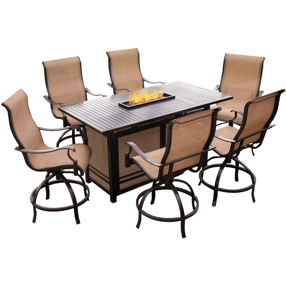 Monaco 7 Piece Aluminum Outdoor High Dining Set With Rectangular Firepit Table And Contoured Sling