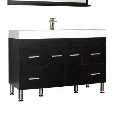 Ripley 47 in. W x 19.5 in. D x 33.12 in. H Vanity in Black with Acrylic Vanity Top in White with White Basin