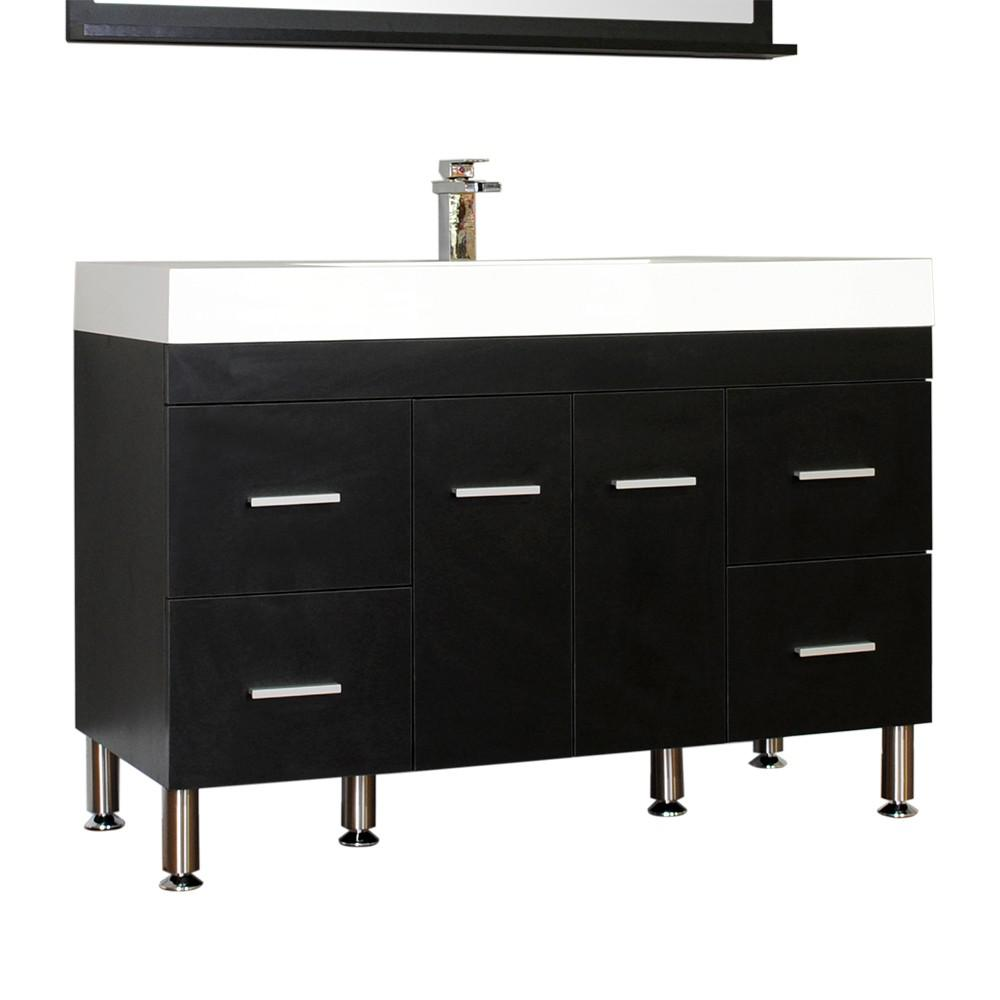 Alya Bath Ripley 47 in. W x 19.5 in. D x 33.12 in. H Vanity in Black with Acrylic Vanity Top in White with White Basin