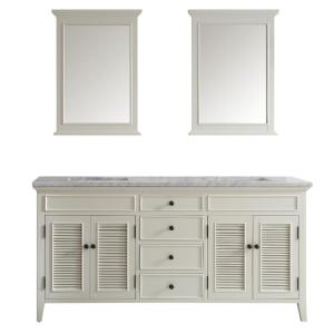 Vinnova Piedmont 72 inch W x 23 inch D x 35 inch H Vanity in Antique White with... by Vinnova