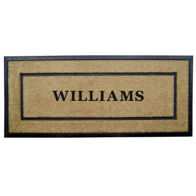 DirtBuster Single Picture Frame Black 24 in. x 57 in. Coir with Rubber Border Personalized Door Mat