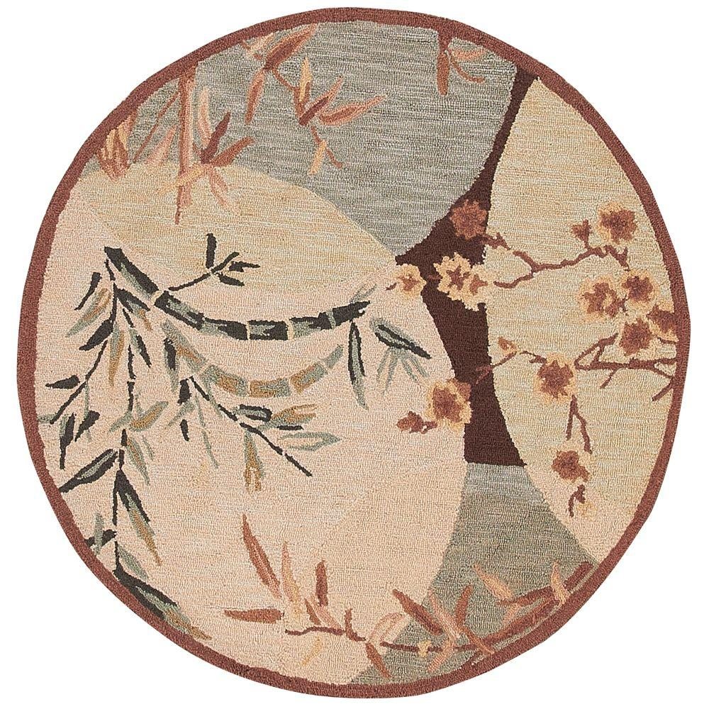 Home Decorators Collection Mandarin Brown and Blue 4 ft. Round Area Rug
