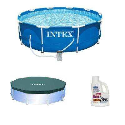 10 ft. x 30 in. Round Swimming Pool Above Ground with Pool Cover Plus Phosphate Remover