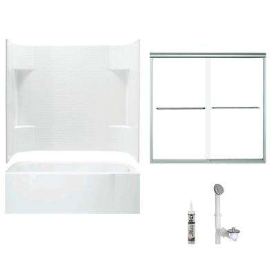 Accord 30 in. x 60 in. x 73.5 in. Bath and Shower Kit with Right-Hand Drain in White and Chrome