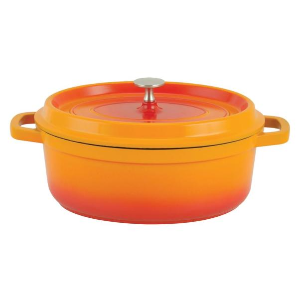 Paderno World Cuisine 6.63 Qt. Orange Oval Aluminum Dutch Oven A1760031