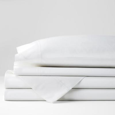 Company Cotton 4-Piece White Solid 300 Thread Count Percale Full Sheet Set