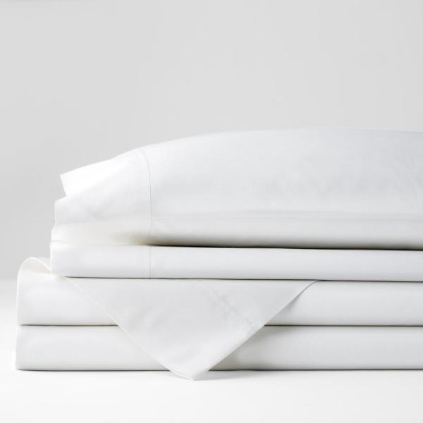 Company Cotton 4-Piece White Solid 300-Thread Count Percale King Sheet Set