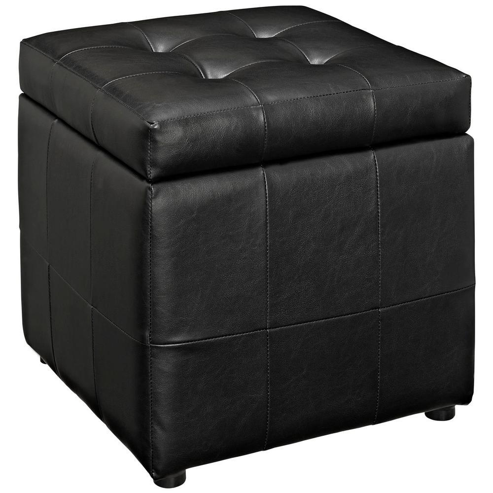 Black Volt Storage Upholstered Vinyl Ottoman