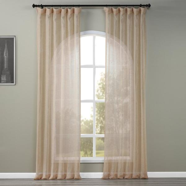 Open Weave Natural Ivory Linen Sheer Curtain - 50 in. W x 108 in. L