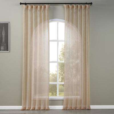 Open Weave Natural Ivory Linen Sheer Curtain - 50 in. W x 120 in. L
