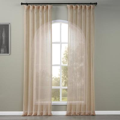 Open Weave Natural Ivory Linen Sheer - 50 in. W x 96 in. L