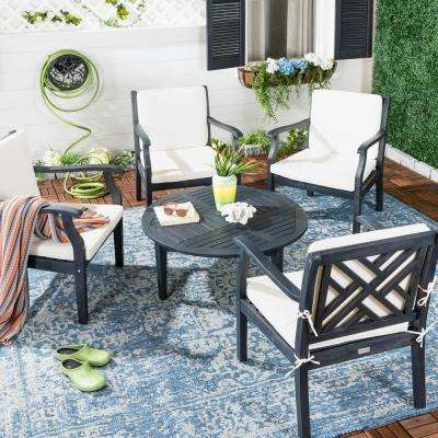 Anaheim 5-Piece Dark Slate Gray Wood Patio Seating Set with Beige Cushions