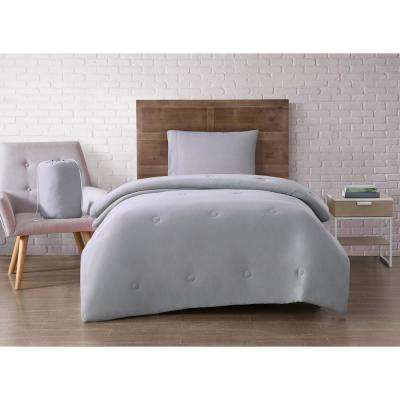 Jersey Dorm Set Gray Twin XL Comforter and Shams with Pillow