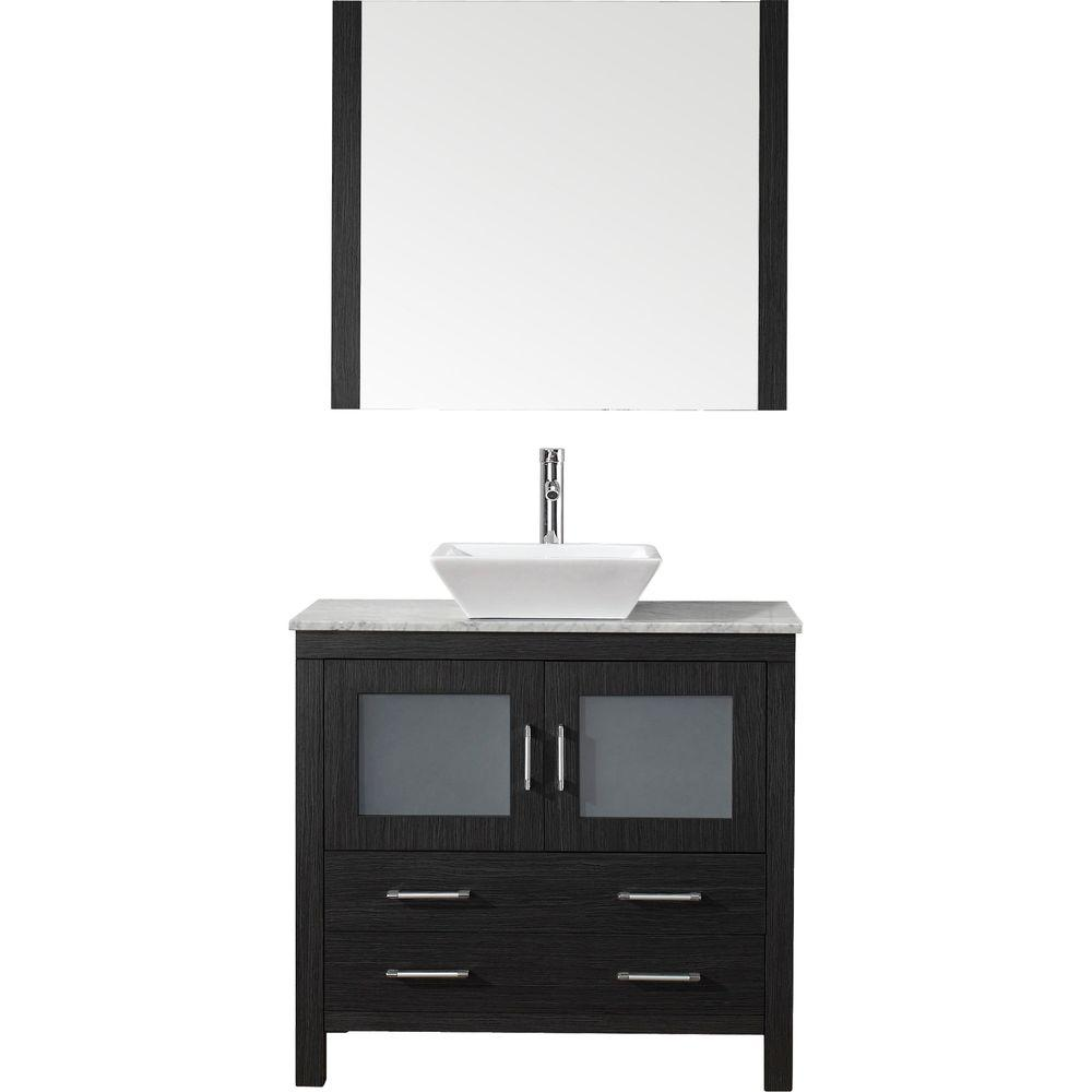 Virtu USA Dior 31 in. W Bath Vanity in Zebra Gray with Marble Vanity Top in White with Square Basin and Mirror and Faucet