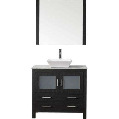 Dior 31 in. W Bath Vanity in Zebra Gray with Marble Vanity Top in White with Square Basin and Mirror and Faucet