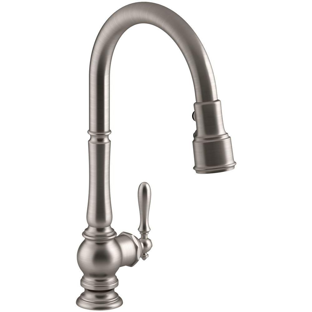 KOHLER Artifacts SingleHandle PullDown Sprayer Kitchen Faucet In - Kohler kitchen faucets home depot