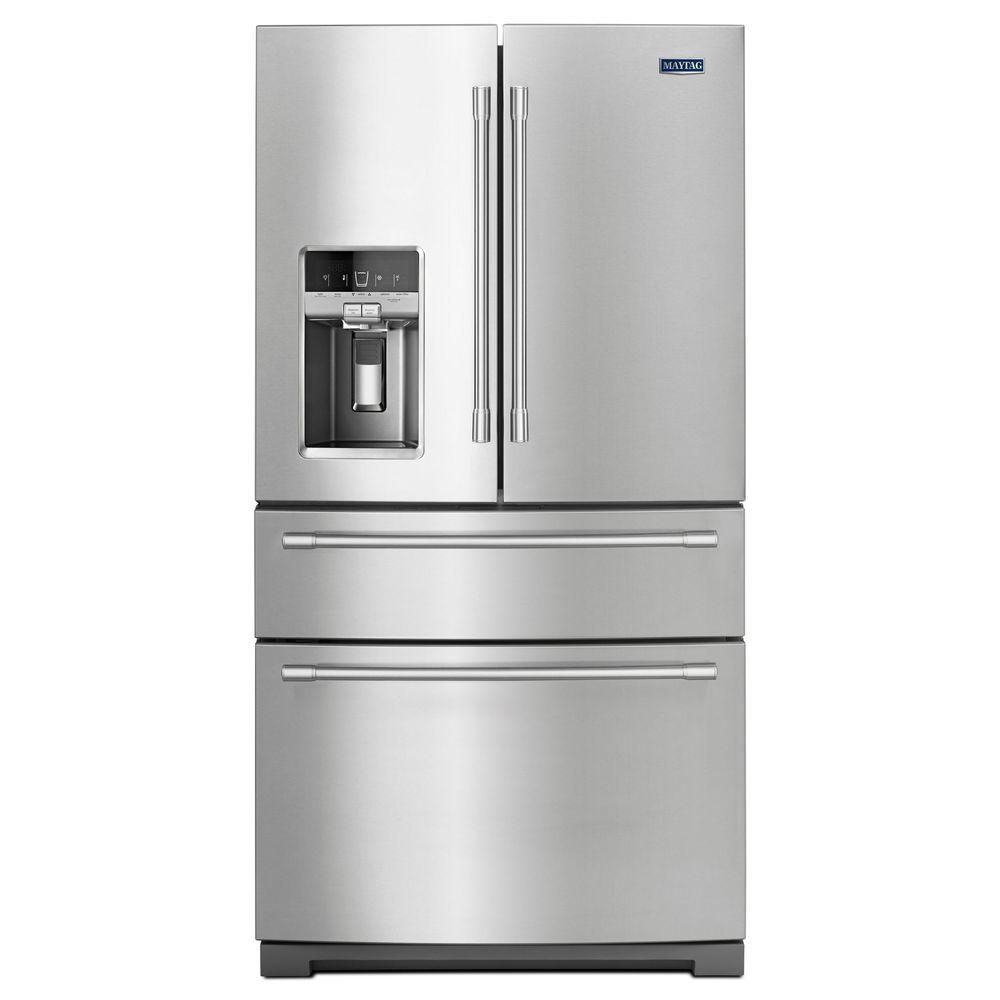 maytag 26 cu ft french door refrigerator in fingerprint resistant rh homedepot com maytag refrigerator shelf frame maytag refrigerator shelf supports