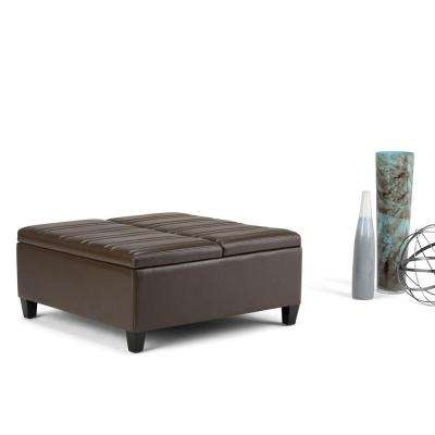 Ellis Chocolate Brown PU Faux Leather Storage Ottoman
