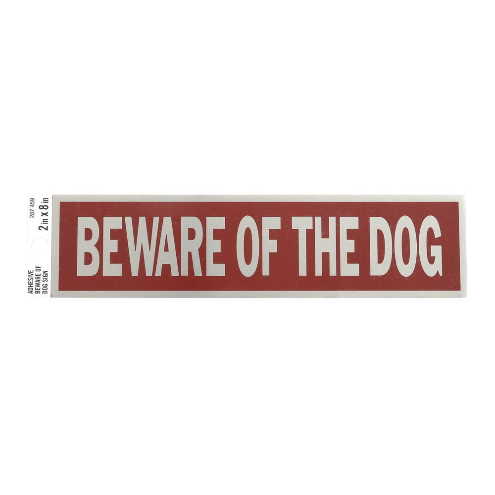 Everbilt 2 in  x 8 in  Adhesive Beware of Dog Sign