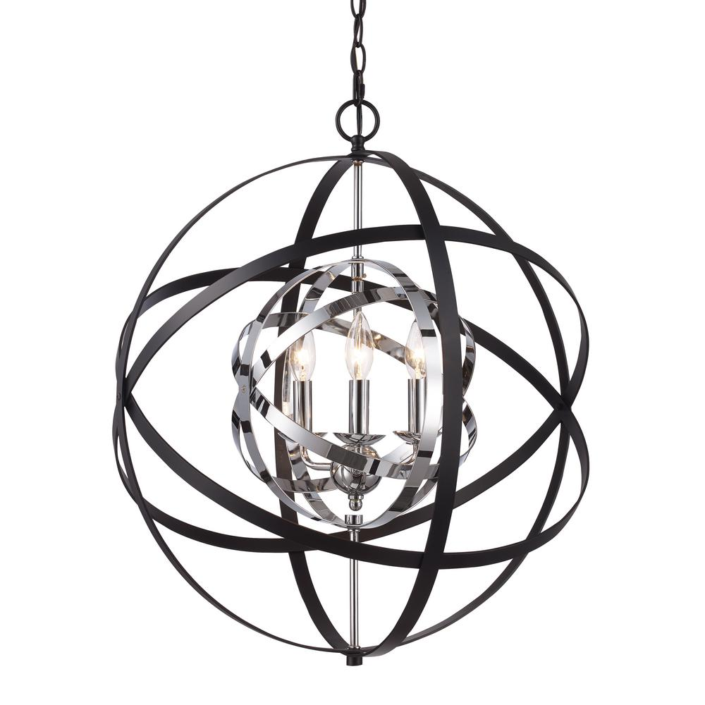 Chrome And Black Track Lighting: Bel Air Lighting Monrovia 3-Light Polished Chrome And