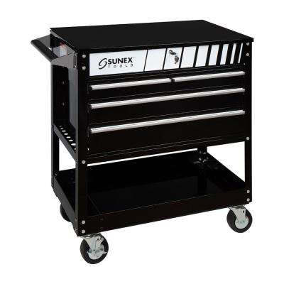 28 in. 4-Drawer Utility Cart in Black