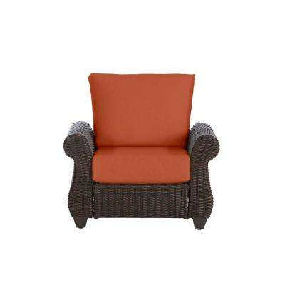 Mill Valley Brown Wicker Outdoor Patio Lounge Chair with CushionGuard Quarry Red Cushions